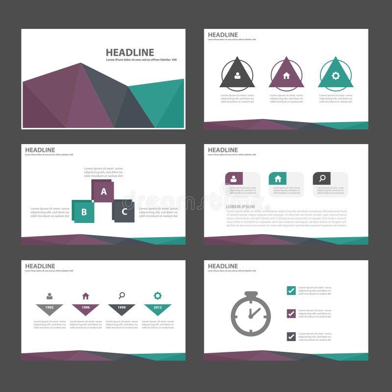 Το πράσινο πορφυρό μαύρο επίπεδο σχέδιο προτύπων παρουσίασης εικονιδίων στοιχείων Infographic έθεσε για τη διαφήμιση του ιπτάμενο διανυσματική απεικόνιση