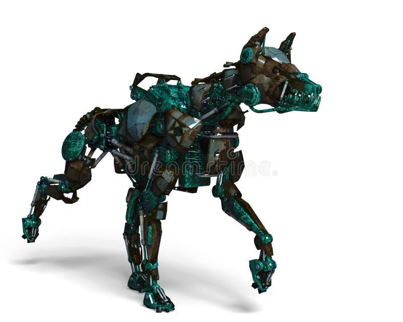 Το πράσινο ρομπότ σκυλιών φρουράς είναι ένα σύστημα ασφαλείας ελεύθερη απεικόνιση δικαιώματος