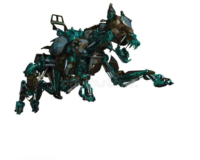 Το πράσινο ρομπότ σκυλιών φρουράς είναι ένα σύστημα ασφαλείας απεικόνιση αποθεμάτων