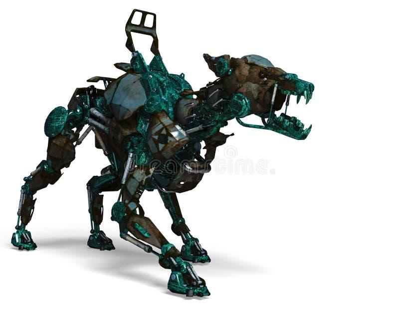 Το πράσινο ρομπότ σκυλιών φρουράς είναι ένα σύστημα ασφαλείας διανυσματική απεικόνιση