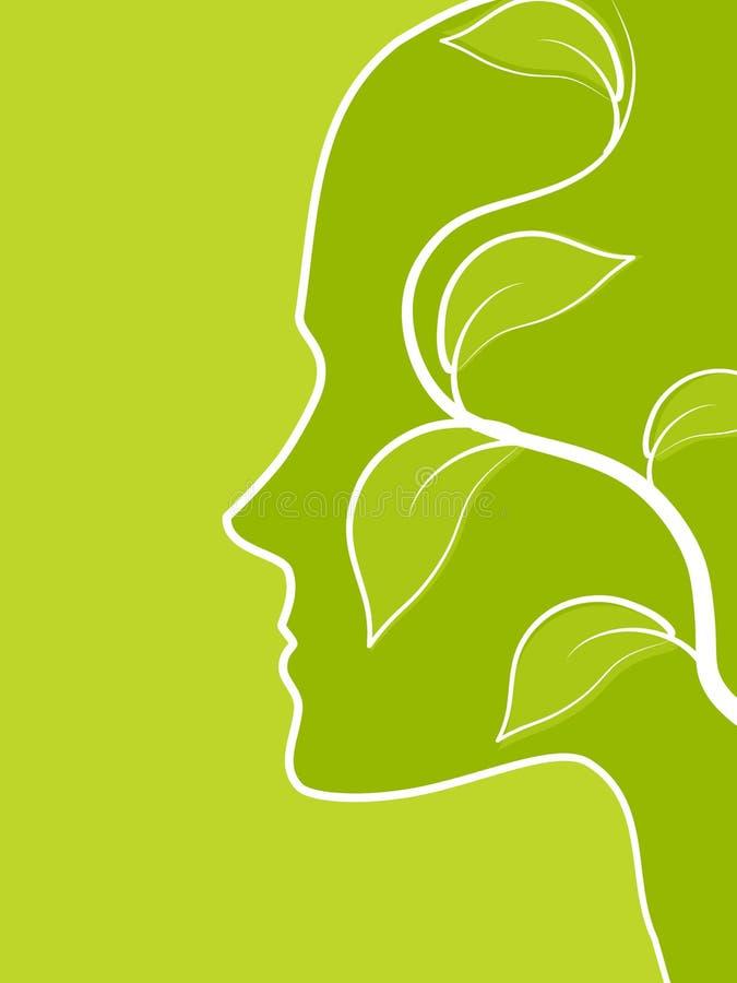 το πράσινο σχεδιάγραμμα φύλλων προσώπου σκέφτεται την άμπελο διανυσματική απεικόνιση