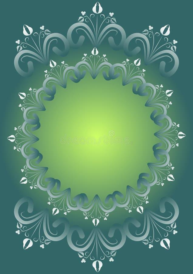 Το πράσινο υπόβαθρο κλίσης με τα floral σχέδια λαογραφίας σύνθεσε στον κύκλο ως εκλεκτής ποιότητας πλαίσιο, κενό διάστημα για το  διανυσματική απεικόνιση
