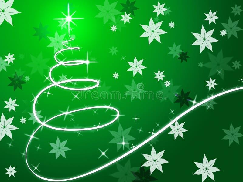 Το πράσινο υπόβαθρο χριστουγεννιάτικων δέντρων παρουσιάζει το Δεκέμβριο και λουλούδια διανυσματική απεικόνιση