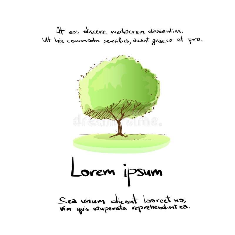 Το πράσινο χέρι δέντρων σύρει το διάνυσμα χρώματος λογότυπων διανυσματική απεικόνιση