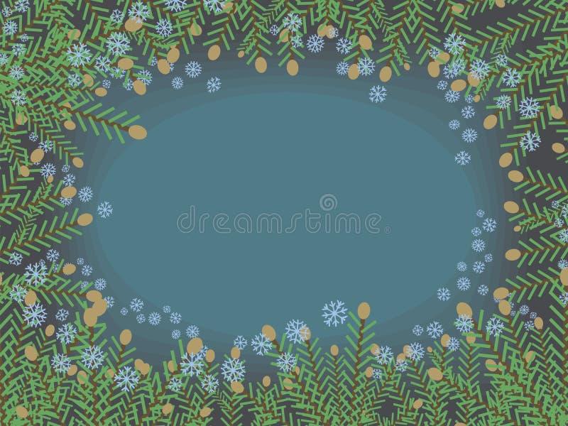 Το πράσινο χριστουγεννιάτικο δέντρο καρτών Χριστουγέννων διακλαδίζεται διανυσματικό παγωμένο μπλε snowflakes πλαίσιο στο μπλε κρύ διανυσματική απεικόνιση
