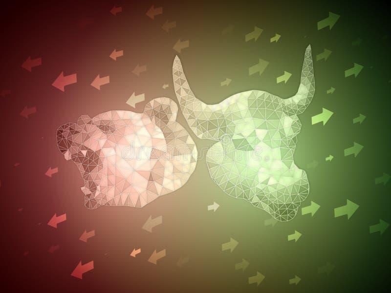 Το πράσινο Bull εναντίον του κοκκίνου αντέχει την έννοια απεικόνισης χρηματιστηρίου με το βέλος πάνω-κάτω για την ένδειξη του συν απεικόνιση αποθεμάτων