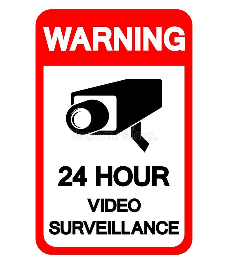 Το προειδοποιώντας σημάδι συμβόλων επιτήρησης 24 ώρας τηλεοπτικό, διανυσματική απεικόνιση, απομονώνει στην άσπρη ετικέτα υποβάθρο διανυσματική απεικόνιση