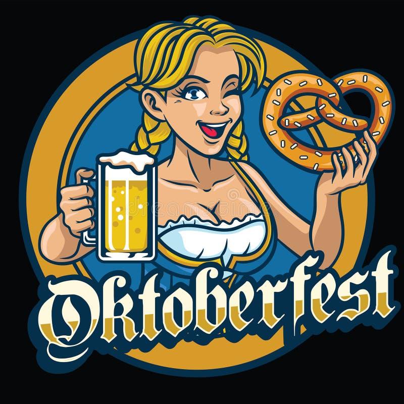 Το προκλητικό βαυαρικό κορίτσι κρατά pretzel και την μπύρα ελεύθερη απεικόνιση δικαιώματος