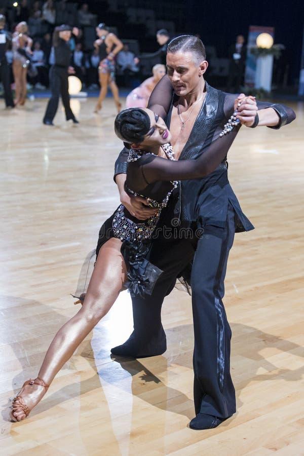 Το προκλητικό δελεαστικό ρομαντικό ζεύγος χορού εκτελεί το λατινοαμερικάνικο πρόγραμμα νεολαίας στοκ εικόνες με δικαίωμα ελεύθερης χρήσης