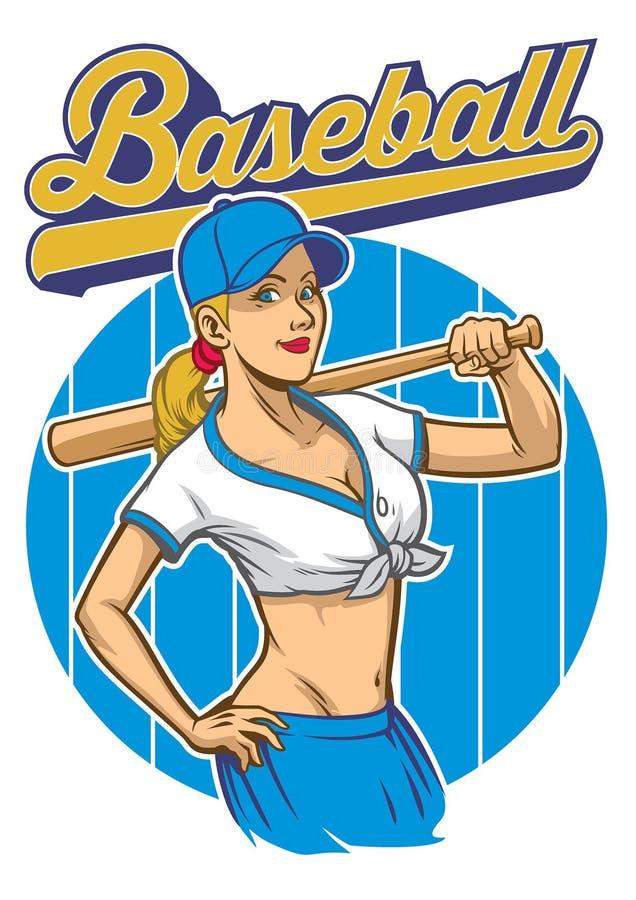 Το προκλητικό κορίτσι του παίχτη του μπέιζμπολ θέτει απεικόνιση αποθεμάτων