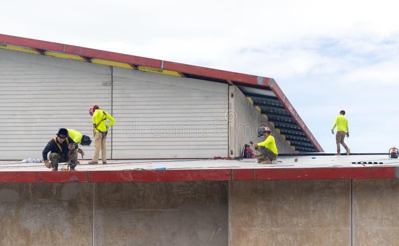 Το προσωπικό επισκευάζει τη στέγη μετά από τον τυφώνα στοκ εικόνα
