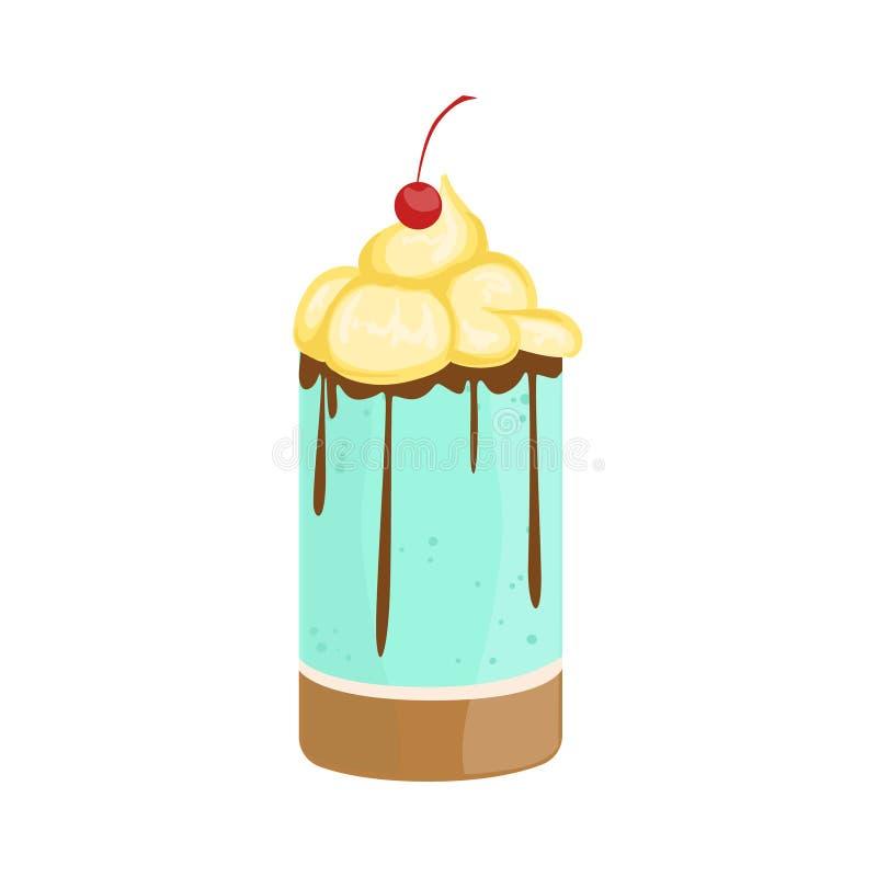 Το προσωπικό κέικ με την κτυπημένα κρέμα και το κεράσι διακόσμησε το μεγάλο ειδικό επιδόρπιο κόμματος περίπτωσης για το γάμο ή τα διανυσματική απεικόνιση