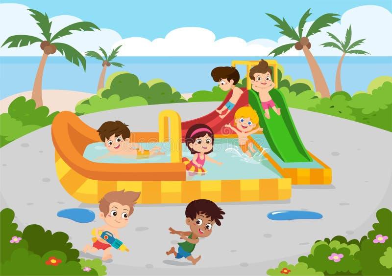 Το πρωί, οι υπαίθριες δραστηριότητες του καλύτερου θερινού παιδιού στην παραλία r διανυσματική απεικόνιση