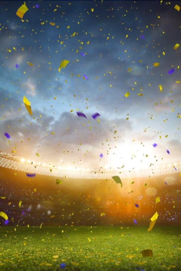 Το πρωτάθλημα γηπέδων ποδοσφαίρου χώρων σταδίων βραδιού κερδίζει στοκ εικόνα