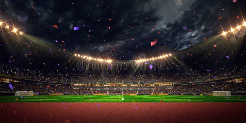 Το πρωτάθλημα γηπέδων ποδοσφαίρου χώρων σταδίων νύχτας κερδίζει στοκ φωτογραφία
