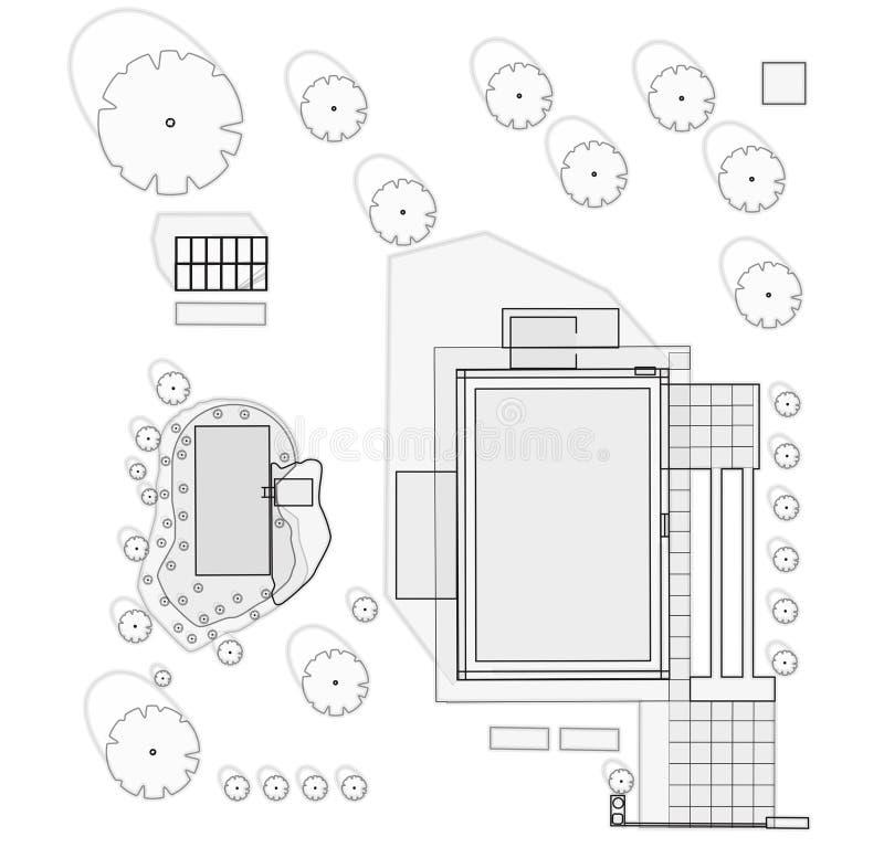 Το πρόγραμμα κήπων στη οικογενειακή κατοικία στο σχέδιο περιλαμβάνει την κολυμπώντας λίμνη διανυσματική απεικόνιση