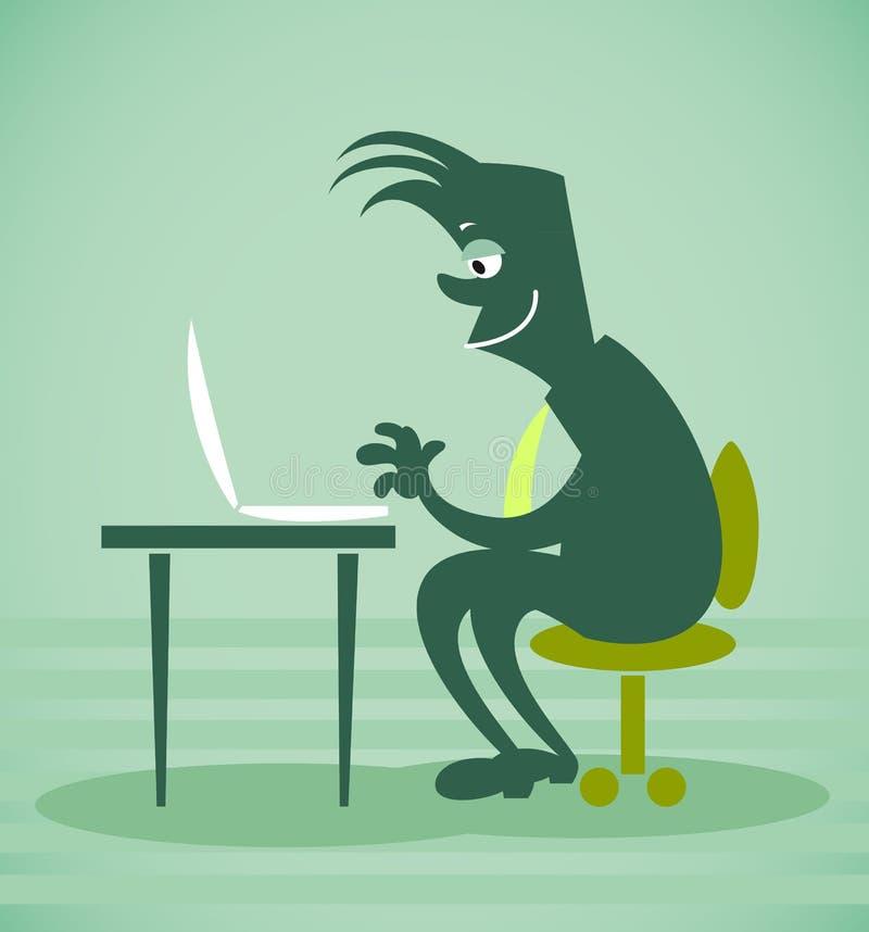 Το πρόσωπο κάθεται μπροστά από τον υπολογιστή ελεύθερη απεικόνιση δικαιώματος