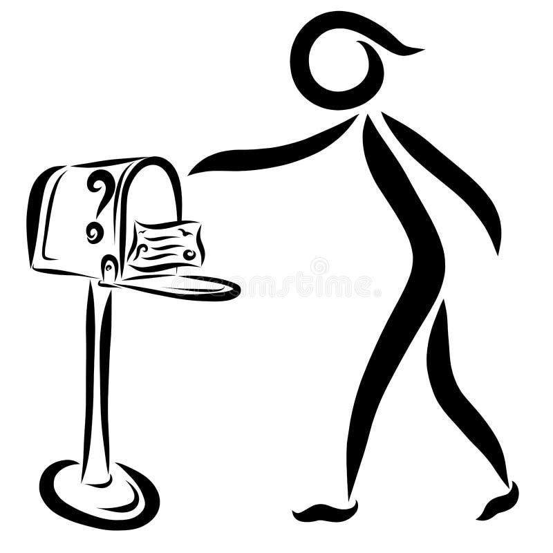 Το πρόσωπο που έλαβε την επιστολή, ταχυδρομική θυρίδα απεικόνιση αποθεμάτων