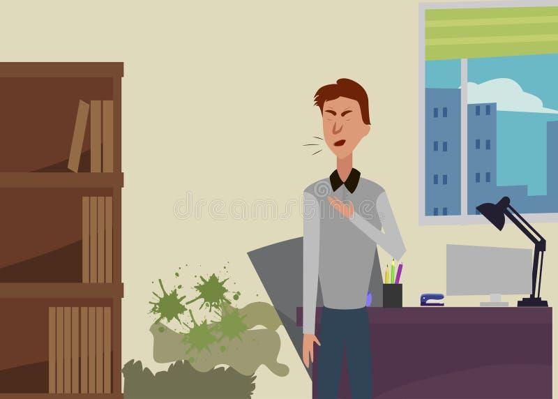 Το πρόσωπο στο δωμάτιο με τη φόρμα βήχει Δωμάτιο φόρμα βήχας διανυσματική απεικόνιση