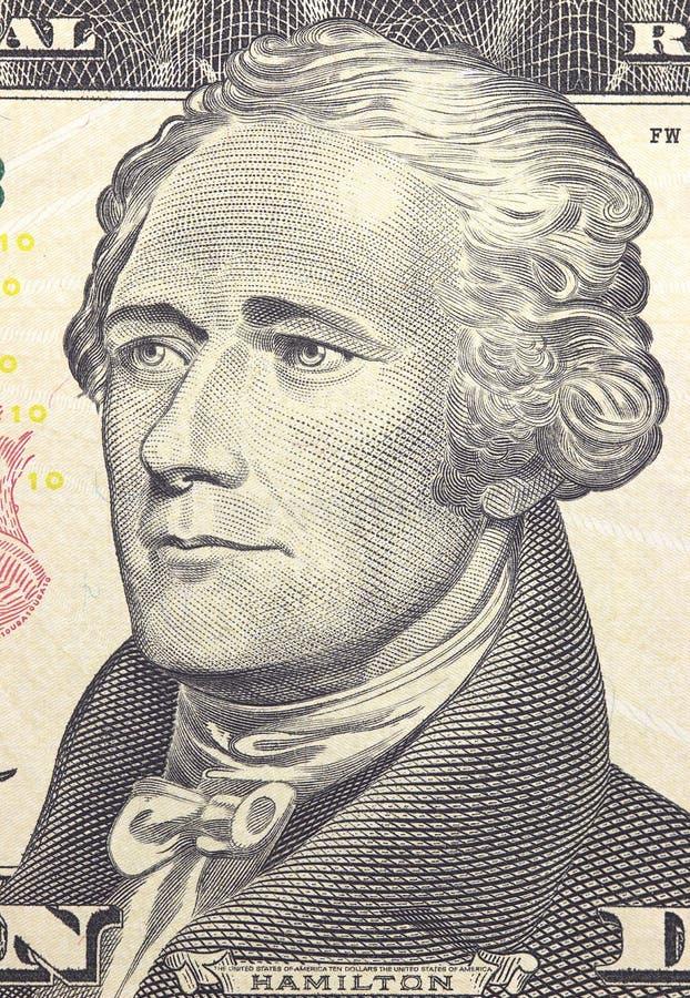 Το πρόσωπο του Αλεξάνδρου Χάμιλτον αμερικανικά δέκα ή 10 δολάριο τιμολογεί τη μακροεντολή, κινηματογράφηση σε πρώτο πλάνο Ηνωμένω στοκ εικόνες