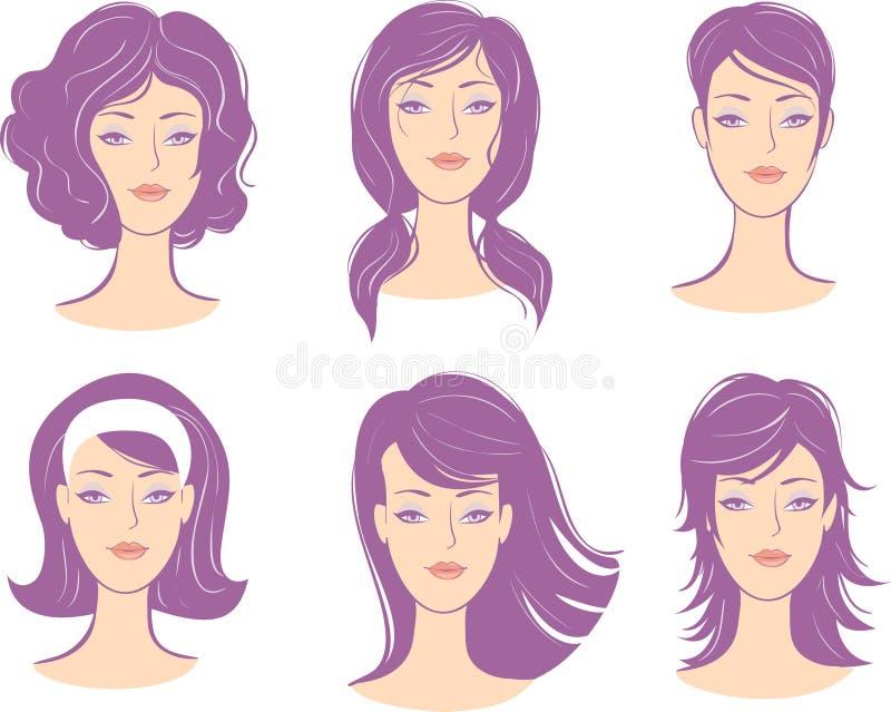 το πρόσωπο hairstyle έθεσε τη γυν&a απεικόνιση αποθεμάτων