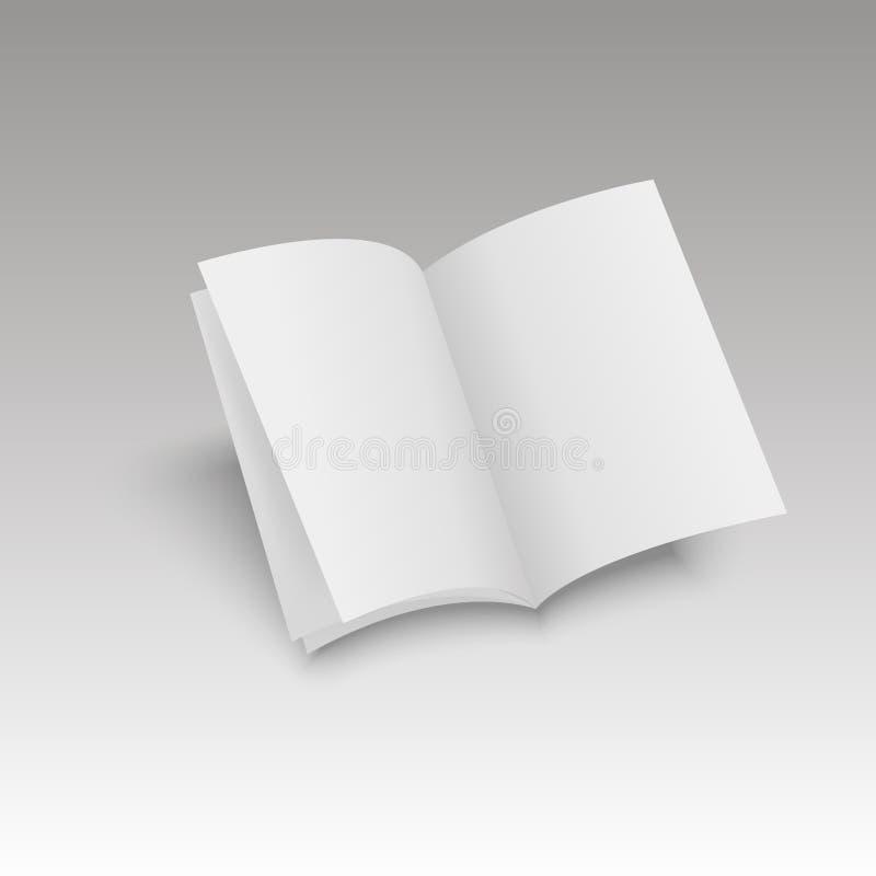 Το πρότυπο άνοιξε το περιοδικό, το περιοδικό, το βιβλιάριο, την κάρτα, το ιπτάμενο, τη επαγγελματική κάρτα ή το φυλλάδιο επίσης c διανυσματική απεικόνιση