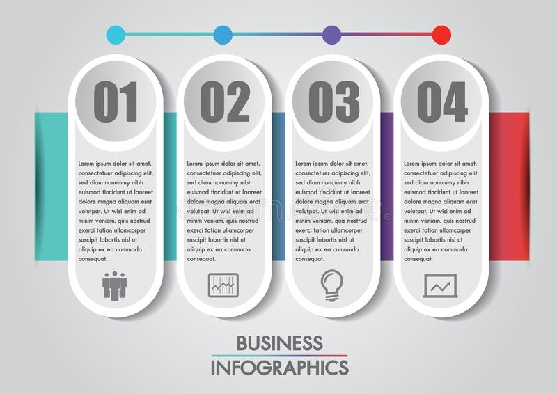 Το πρότυπο έννοιας επιχειρησιακού infographics είναι βήμα 4 επιλογής με το εικονίδιο μπορεί να χρησιμοποιηθεί για το διάγραμμα δι διανυσματική απεικόνιση