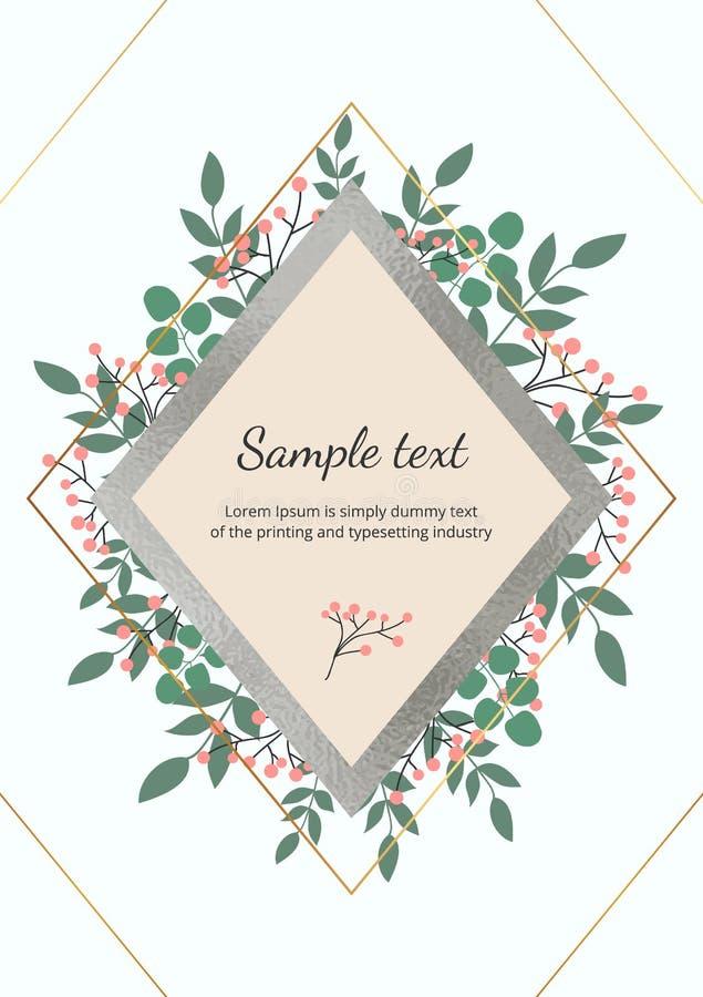 Το πρότυπο για τη γαμήλια πρόσκληση με τα πράσινα φύλλα, ευκάλυπτος διακλαδίζεται, διακοσμητική σύσταση φύλλων αλουμινίου φυλλώμα διανυσματική απεικόνιση
