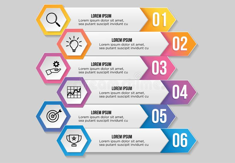 Το πρότυπο διανυσματικής infographic Design με βήματα επιλογών και εικονίδια μάρκετινγκ μπορεί να χρησιμοποιηθεί για γράφημα info ελεύθερη απεικόνιση δικαιώματος