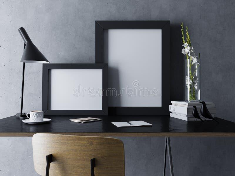 το πρότυπο δύο χλευάζει επάνω το σχέδιο με την κενή αφίσα στο μαύρο πλαίσιο στο σύγχρονο εσωτερικό εργασιακών χώρων γραφείων να κ απεικόνιση αποθεμάτων