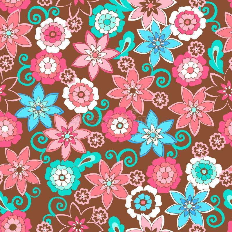 το πρότυπο λουλουδιών επαναλαμβάνει άνευ ραφής ελεύθερη απεικόνιση δικαιώματος