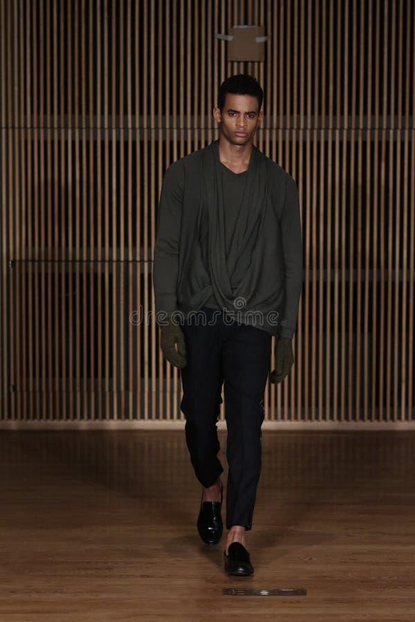 Το πρότυπο περπατά το διάδρομο στη επίδειξη μόδας Loris Diran κατά τη διάρκεια F/W το 2016 των ατόμων εβδομάδας μόδας της Νέας Υό στοκ φωτογραφίες