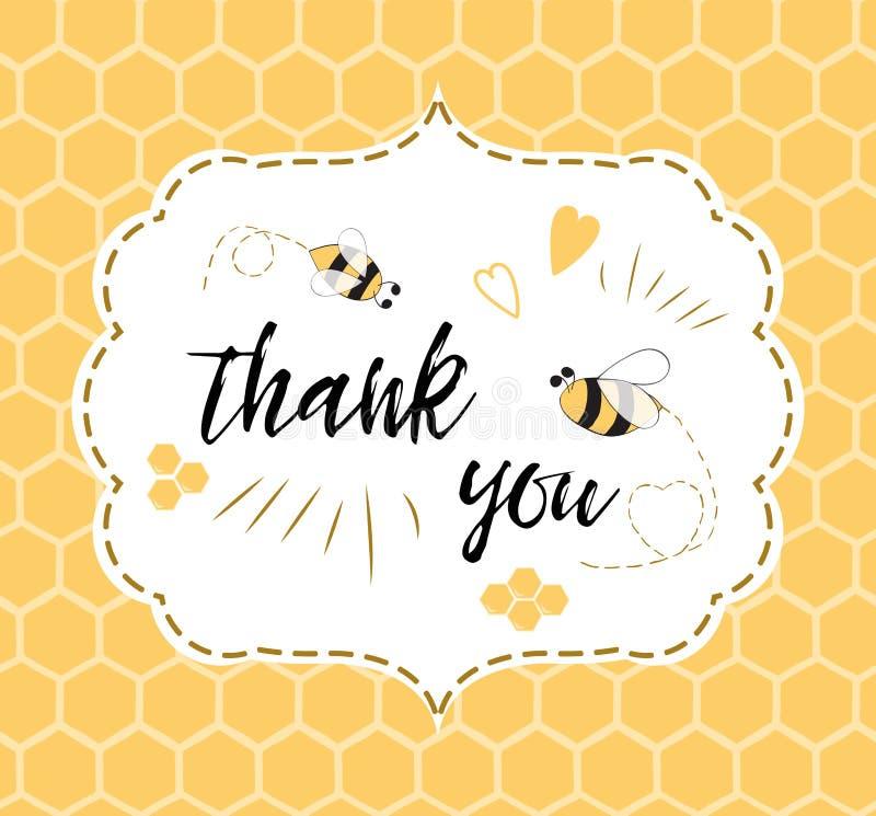 Το πρότυπο πρόσκλησης ντους μωρών με το κείμενο σας ευχαριστεί με τη μέλισσα, μέλι Χαριτωμένο σχέδιο καρτών για τα αγόρια κοριτσι ελεύθερη απεικόνιση δικαιώματος