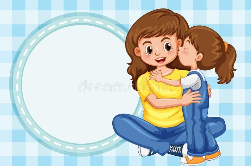 Το πρότυπο συνόρων με το κορίτσι φιλά τη μητέρα διανυσματική απεικόνιση