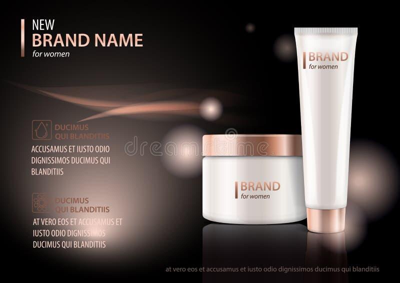 Το πρότυπο σχεδίου της καλλυντικής συσκευασίας που διαφημίζει για το χέρι ή το πρόσωπο αποβουτυρώνει, λοσιόν Διανυσματική χλεύη ε ελεύθερη απεικόνιση δικαιώματος