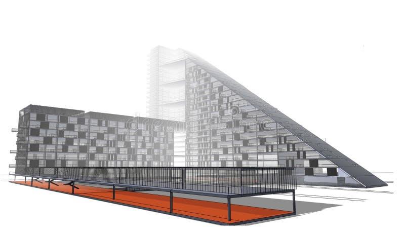 Το πρότυπο του σπιτιού για την άνοδο ύψους χτίζει στοκ εικόνα