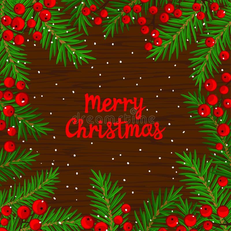 Το πρότυπο υποβάθρου χειμερινών καρτών με το χριστουγεννιάτικο δέντρο διακλαδίζεται και κόκκινα μούρα σορβιών στην ξύλινη σύσταση απεικόνιση αποθεμάτων