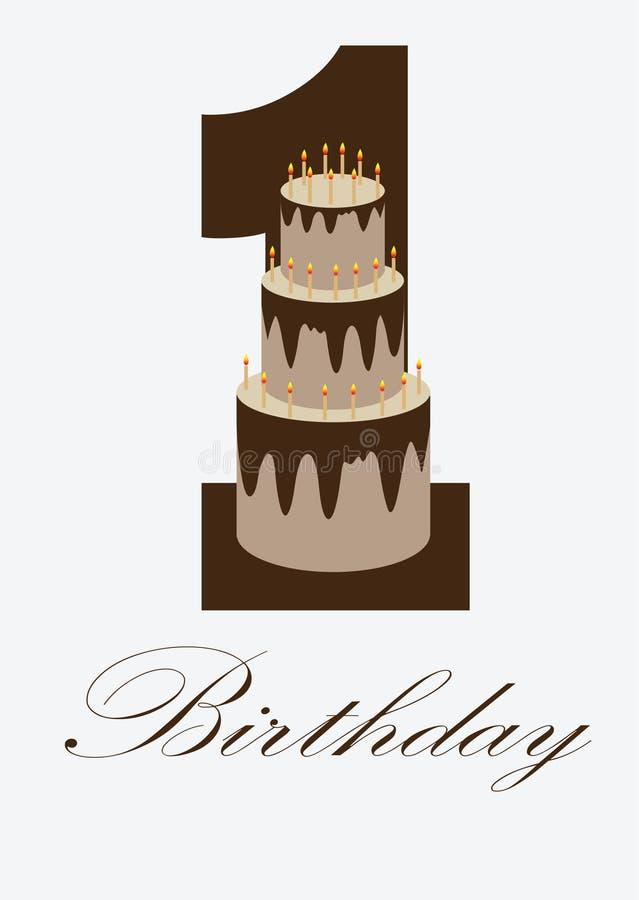 Το πρώτο κέικ γενεθλίων στην πρώτη σοκολάτα επιστολών συσσωματώνει τι στοκ εικόνες