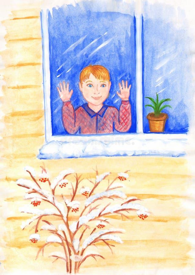 Το πρώτο χιόνι έπεσε Το αγόρι φαίνεται ευτυχώς έξω το παράθυρο Απεικόνιση για τα παιδιά ελεύθερη απεικόνιση δικαιώματος