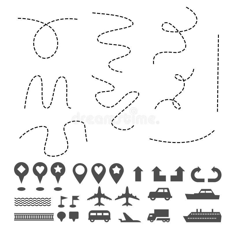 Το ΠΣΤ ταξιδιού δεικτών ναυσιπλοΐας εικονιδίων καρφιτσών χαρτών υπογράφει άλλα σύμβολα που τίθενται στο λευκό διανυσματική απεικόνιση