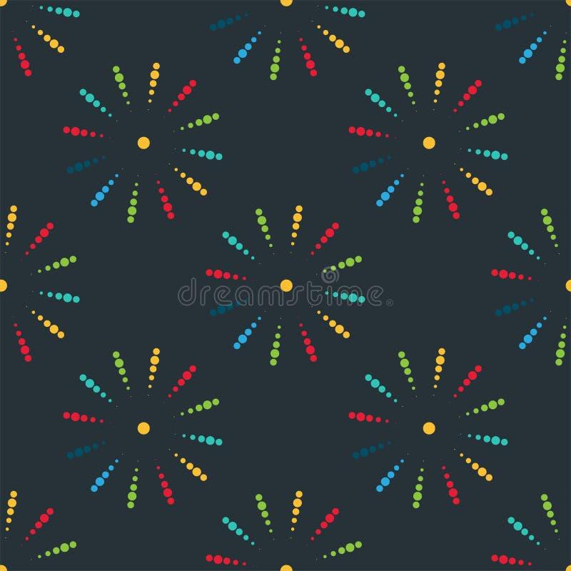 Το πυροτέχνημα διαφορετικό διαμορφώνει το ζωηρόχρωμο εορταστικό άνευ ραφής διάνυσμα σχεδίων απεικόνιση αποθεμάτων
