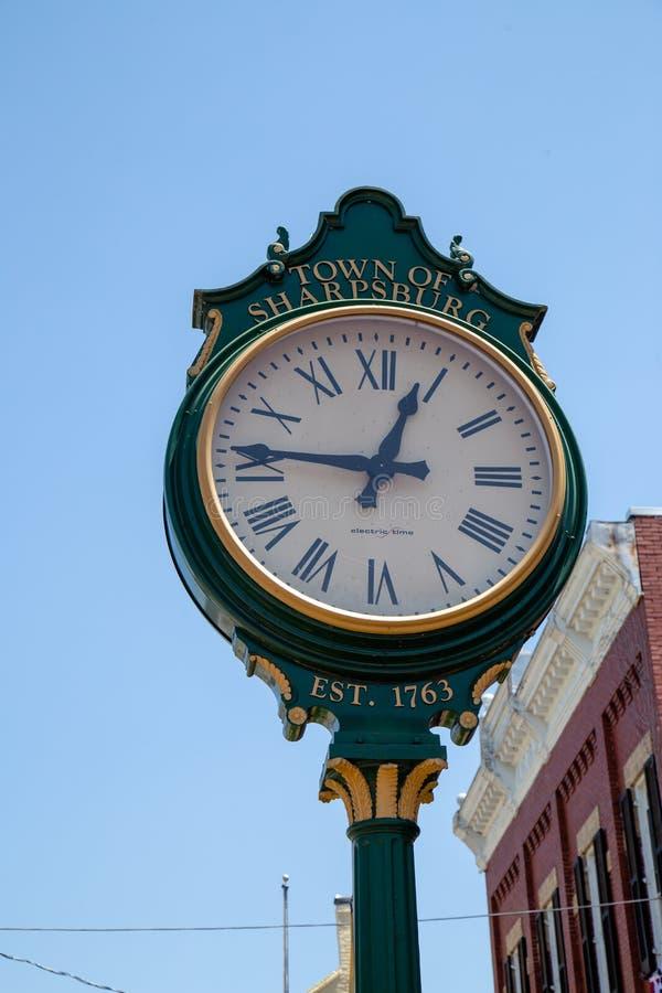 Το πόλης ρολόι MD Sharpsburg στοκ φωτογραφία