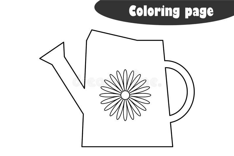 Το πότισμα μπορεί στα κινούμενα σχέδια να ορίσει, χρωματίζοντας σελίδα, παιχνίδι εγγράφου εκπαίδευσης άνοιξη για την ανάπτυξη των απεικόνιση αποθεμάτων