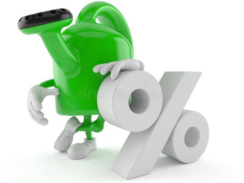 Το πότισμα μπορεί χαρακτήρας με το σύμβολο τοις εκατό ελεύθερη απεικόνιση δικαιώματος