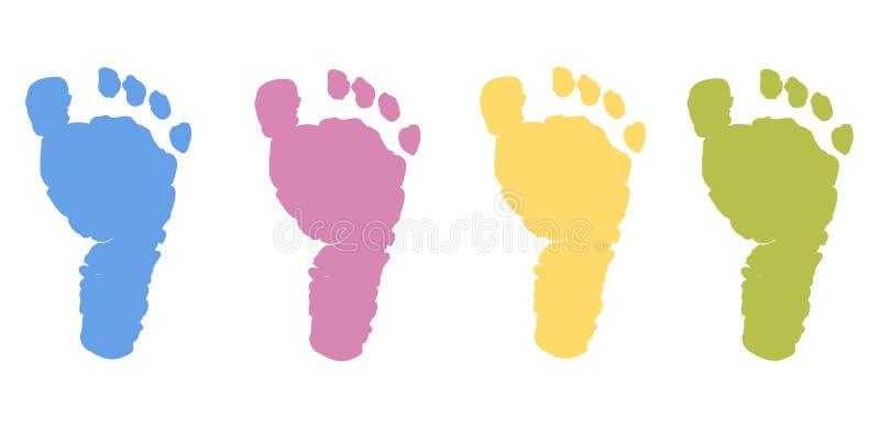 Το πόδι μωρών τυπώνει το διάνυσμα χρώματος κρητιδογραφιών απεικόνιση αποθεμάτων