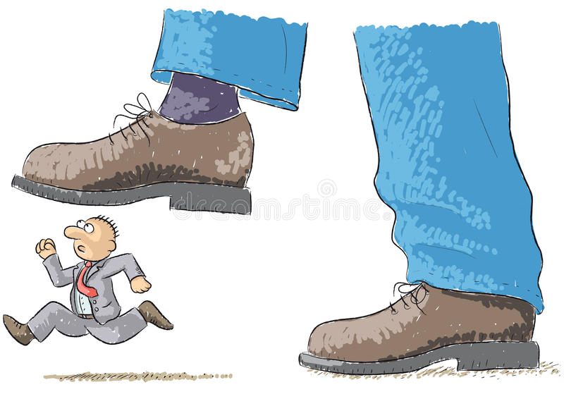 Το πόδι ποδοπατά το άτομο διανυσματική απεικόνιση