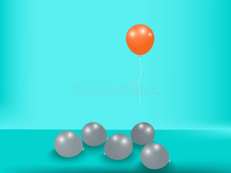 το πλήθος στέκεται έξω Σημαντικό μοναδικό πορτοκαλί μπαλόνι λευκό επιχειρησιακής απομονωμένο έννοια επιτυχίας διανυσματική απεικόνιση