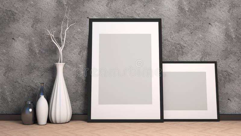 Το πλαίσιο εικόνων και το βάζο στο ξύλινο πάτωμα διακοσμούν τρισδιάστατη απεικόνιση απεικόνιση αποθεμάτων