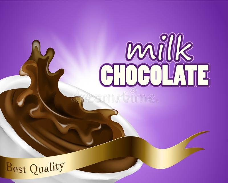 Το ράντισμα και το υγρό σοκολάτας περιστροφών για το πορφυρό υπόβαθρο χρήσεων σχεδίου στην τρισδιάστατη σοκολάτα γάλακτος απεικόν ελεύθερη απεικόνιση δικαιώματος