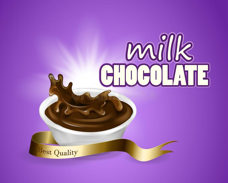 Το ράντισμα και το υγρό σοκολάτας περιστροφών για το πορφυρό υπόβαθρο χρήσεων σχεδίου στην τρισδιάστατη σοκολάτα γάλακτος απεικόν απεικόνιση αποθεμάτων